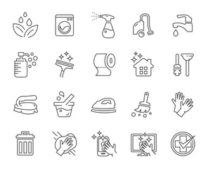 Cleaning Vector Line Icons Set. Isolate icon with cleaning services, Screen Cleaning , Smart Phone Cleaning, Home care service icon, Vector illustration.