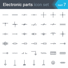 Complete vector set of electric and electronic circuit diagram symbols and elements - lines, wires, cables and electrical conductors