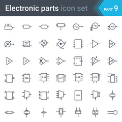Complete vector set of electric and electronic circuit diagram symbols and elements - circuitry, blocks, stages, amplifier, logic circuits, piezoelectric crystals and crystal oscillators