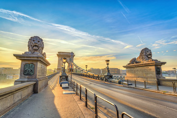 Budapest sunrise city skyline at Chain Bridge, Budapest, Hungary