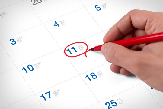 Mark on the calendar at March 11, 2016