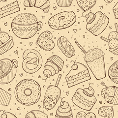 Seamless pattern, sweets doodle sketch