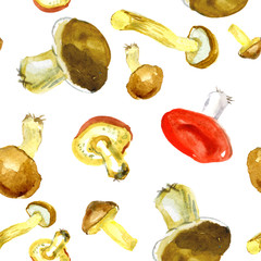 Watercolor food. Forest mushrooms