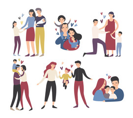 Happy loving family. Mother, father and children smiling, hugging, kissing and playing. Collection of cute and funny flat cartoon characters in different situations. Colorful vector illustration.