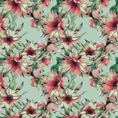 Seamless pattern with sunflowers and apples.