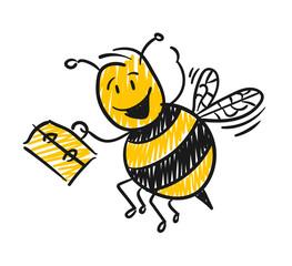 Strichfiguren / Strichmännchen: Fleißige Biene. (Nr. 135)