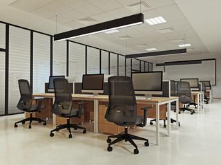 Интерьер офиса рабочее пространство ночной вид