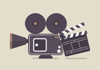 Retro movie camera and movie clapper