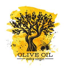 hand drawn olive tree in retro