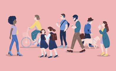 People on street. Men and women of different age passing by, walking, standing, riding bicycle, listen to music. Modern city dwellers, urban lifestyle. Hand drawn vector illustration.
