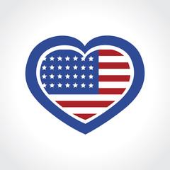 american flag inside heart shape