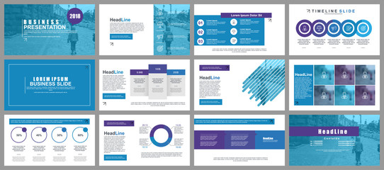 Blue business presentation slides templates from infographic elements. Can be used for presentation, flyer and leaflet, brochure, corporate report, marketing, advertising, annual report, banner. Wall mural