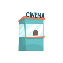Cinema ticket booth, box office, kiosk cartoon vector Illustration