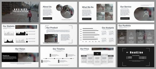 Business presentation slides templates from infographic elements. Can be used for presentation, flyer and leaflet, brochure, corporate report, marketing, advertising, annual report, banner, booklet. Wall mural