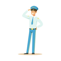 Smiling airline pilot in uniform standing and saluting vector Illustration