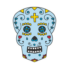 Doodle vector calavera or sugar skull, traditional for mexican day of the dead holiday.