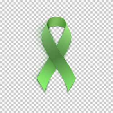 Green ribbon on transparent background.