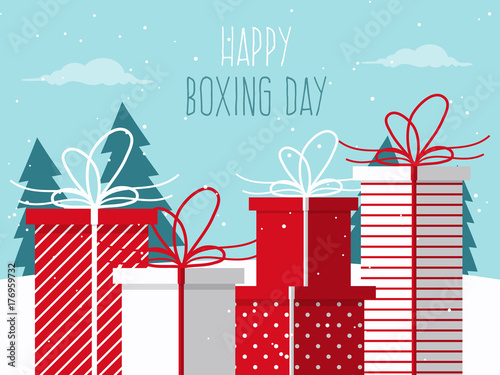 """""""Happy Boxing Day. Background With Christmas Gifts On"""