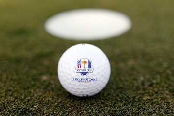 An illustration photo shows a golf ball with the Ryder Cup logo at France's Golf National where the Ryder Cup 2018 tournament will be held at Saint-Quentin-en-Yvelines, France