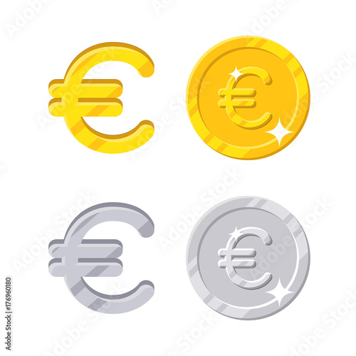 Euro Sign Gold And Silver Symbol Of The Europa Currency And Coins