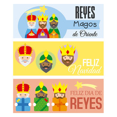 the three kings of orient. 3 banner written in Spanish
