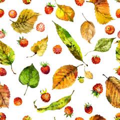 Tasty, red, ripe, aromatic strawberry berry. Fresh, garden, field, summer strawberries. Autumn, fallen, yellow, rotten leaves. Watercolor. Illustration