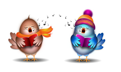 Singing birds illustration