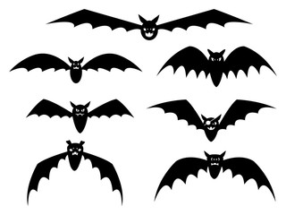 Set of cartoon bats on white background