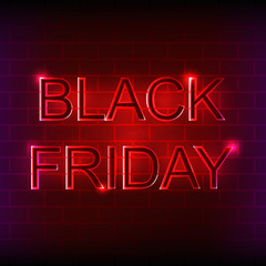 Black Friday neon sign on the brick wall.