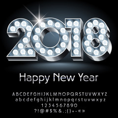 Vector light up Happy New Year 2018 Greeting Card with Alphabet set of Letters, Symbols and Numbers. Silver Font contains Graphic Style