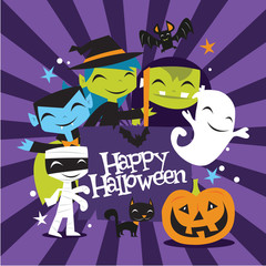 Jolly Halloween Monsters Happy Halloween Banner