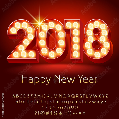 vector chic light bulb happy new year 2018 greeting card with luxury alphabet set of letters
