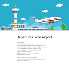 Airplane Takes Off from the Airport ,Control Tower and Airplane on the Background of the City and Text, Poster Brochure Flyer Design, Air Travel and Transportation, Vector Illustration