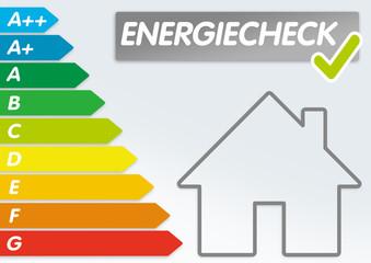 Haus mit Energieeffizienklassen und Energiecheck Energieverbrauch
