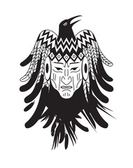 Aztec mayan tattoo with indian face and feather. Vector illustration.