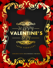 Holiday poster for St.Valentine's day with heart shape and text. Vector illustration.