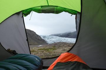 Tuinposter Kamperen tent iceland