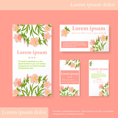 Set of four cards and labels. Different sizes, decorated with painted pink flowers with leaves. Drawing by hand. Space for your text.