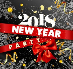 New Year 2018 party promotional poster with spruce branches
