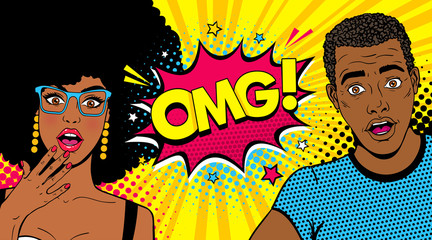 Wow afro american couple. Handsome young surprised man and sexy woman in glasses with open mouths and speech bubble with OMG! text. Vector colorful cartoon background in pop art comic retro style.