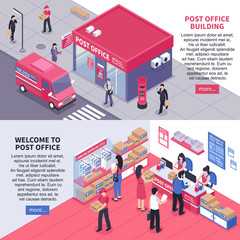 Post Office Isometric Horizontal Banners