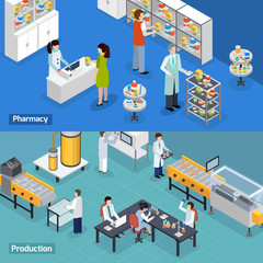 Pharmaceutical Production 2 Isometric Banners
