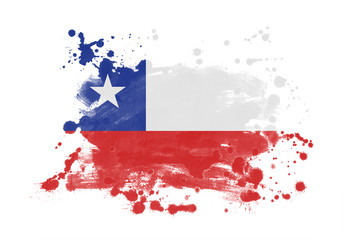 Chile flag grunge painted background