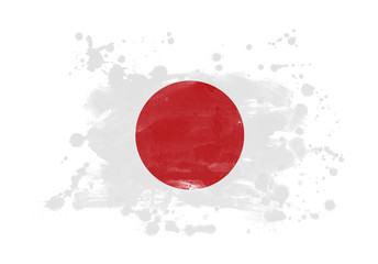 Japan flag grunge painted background