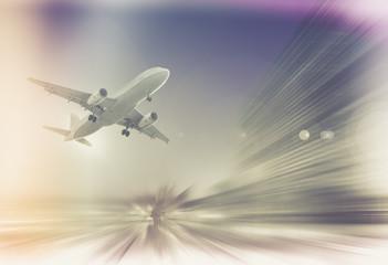 Big airplane in sky on blurred background