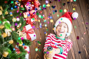 Happy child on Christmas eve
