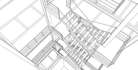 Modern industrial interior with stairway. Architectural 3D background. Vector blueprint.