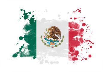 Mexico flag grunge painted background