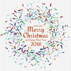Flying christmas confetti, anniversary celebration, happy birthday party vector background.
