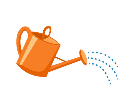 Orange plastic watering can with water. Vector illustration of a watering can on white background. Flat style.